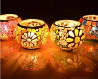 Wholesale 2014 Fancy European Style Glass Mosaic Candle Holder Romatic Lover s Candlestick Home Decoration