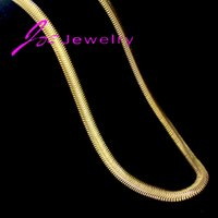 stainless steel collar - Collar k gold silver flat snake chain necklaces stainless steel herringbone gold chain necklaces fine jewelry for women men