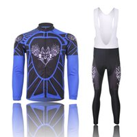 Wholesale FeiFan black eagle and wings Cycling Jersey Winter Fleece Thermal Long Sleeve bike Jersey cycling clothes bib pants