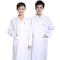 Wholesale Medical white long sleeve Lab coats workwear Thick White and Anti Shrink material doctor clothing Male Female