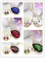 Wholesale Newest Ruby Rhinestone Double Tear Drop Women Necklace Earring Set Boutique Silver Gold Filled Jewelry Set For New Year GIFT
