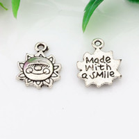 ancient jewelry making - Hot Ancient silver Alloy Made With A Smile Charms Pendants X16mm DIY Jewelry