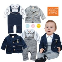 Wholesale 2015 New cotton children Gentleman baby boys romper year retail Romper Infant long sleeve Clothing Suit