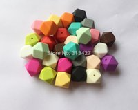 Wholesale 23 MM Biggest Geometric Hexagon Silicone Beads DIY of Hexagon Loose Individual Silicone Beads in Colors