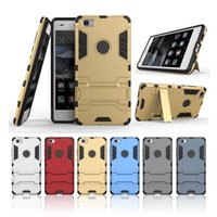 For Chinese Brand Plastic Silver Luxury Brand Hybird Armor Mobile Phone Case For Huawei Ascend P8 LITE Case Hard Back Cover Silicon Quickstand For Huawei P8 LITE Case