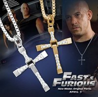 crosses - The Fast and Furious Dominic Toretto Cross Pendant Necklaces for Men Fashion Rhinstone Men s Jewelry Top Quality Cross Pendant NL161106