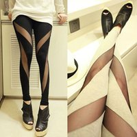 Cheap 2015 New Spring Summer Sexy Leggings Ripped Cut-out Tight Fashion Women Bodycon Bangage Long Leggings Pants Mesh Stretch Legging Clothes A51