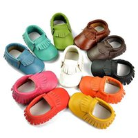 Wholesale Baby moccasins soft sole moccs genuine leather prewalker booties toddler babies infant tassel cow leather moccasin shoes shoe