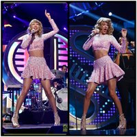 album silver - 2016 Taylor Dress Album Iheartradio Music Festival Performance Dress Pink Crystal Short Mini Two Piece Prom Gowns Party Evening Dress