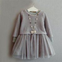 Wholesale 2016 spring new girls dress Sweater Dresses set Baby Girl Tutu Lace Dress With Pullover Casual Sweatshirt Lace Princess Party Dresses