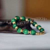 Wholesale 10mm Natural Grade A Jade Gems Bead Stone Strands Bracelets Lucky Green Gold High Quality Jewelry