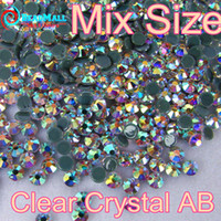 Wholesale Mix Sizes Top AAA Quality Crystal Clear AB glass Flatback Hot Fix Rhinestone More Shiny More Brigst hotfix stones for clothing