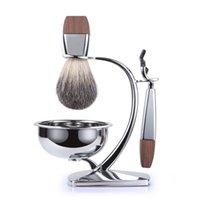 Wholesale 2016 Best Fashion Design in Premium Shaving Gift Set Real Beard Brush Safety Razor Stainless Steel Brush Stand and Shaving Bowl