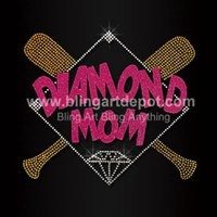 Cheap Baseball Rhinestone Transfers Diamond Mom Heat Transfer Glitter For T-shirt Hoodies Free Custom Design Free Shipping