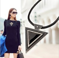 Wholesale 2014 fashion large triangle Gemstone Necklace leather rope chain clavicle chain short chain female Korean explosion models handsome Necklace