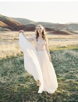 Wholesale 2016 Bohemian Wedding Dresses Long Sleeves Lace Chiffon Wedding Gowns with Beaded Sash Floor Length Bridal Gowns Custom Made