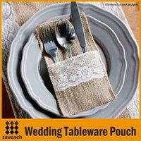 Wholesale Vintage quot x8 quot Hessian Burlap Lace Wedding Tableware Pouch Cutlery Holder Decorations Favor