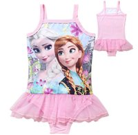 Wholesale 4 Style Children s lace Gauze Swimwear Elsa Anna girls Beach Swimwear Summer Princess One Piece Swimsuit DHL Free