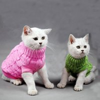 Wholesale Cats Sweater Costumes Fashion Pets Pullover Knitted Kitty Doggie Clothes Solid Colors for Kitten Chihuahua Pug