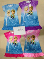 Wholesale Frozen nightgown Pajamas Children clothing girls dresses Frozen Printed Cartoon Short sleeve dresses casual nightgown sleepwear more designs