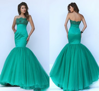 attractive woman dress - Attractive Evening Dresses Long New Beaded Neck Mermaid Prom Party Dress Tulle Sweep Train Sexy Open Back Women Pageant Gowns