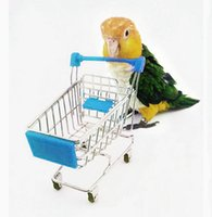 Wholesale Mini Shopping Cart Trolley Pet Bird Parrot Toys Multi colors Supermarket Cart Toys