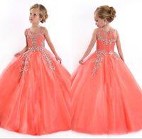 Nuevo 2016 Rachel Allan poco chicas desfile vestidos princesa tul pura joya cristal rebordear blanco Coral flores para las niñas vestidos de los cabritos bo8908