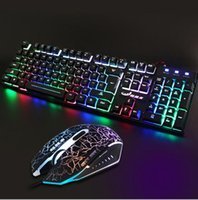 Wholesale Gamer Gaming Usb Dazzle Colour Backlit Computer Keyboard And Colour Breathing Lamp Mouse Internet Cafes Keyboard And Mouse Suit