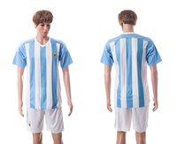 Wholesale Argentina Home Blue White Stripe Soccer Jersey White Short Mens Football Sports Kits brand new with logo tags custom name number