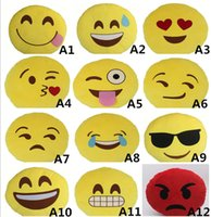Wholesale 20 designs Cushion Lovely Emoji Smiley Pillows Cartoon Facial QQ Expression Cushion Pillows Yellow Round Pillow Stuffed Plush Toy B215