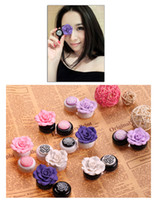 fashion contact lenses - 6 Colors Lovely Camellia Flower Contact Lens Case Fashion Contact Lens Holder Factory directly