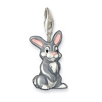 Wholesale Silver Charm cheeky young bunny rabbit charm pendant in black grey pink enamelled Trendy charms fit charm bracelet fashion jewelry women