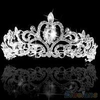 Cheap Wedding Bridal Princess Austrian Crystal Prom Hair Tiara Crown Veil Headband Silver Wedding 2JKL