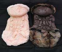 Wholesale Pet Dog Winter warm coat Hoody Buttons bow Pet Puppy Jacket Clothes sizes