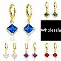 Wholesale High Quality K Gold Plated Mixed Colors Party Queen Lover Cubic Zirconia Jewelry Drop Dangle Women Girls Earrings