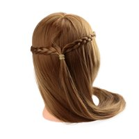 Wholesale 27 quot Female Dummy Head Long Hair Hairdressing Training Head Model with Clamp Golden Yellow