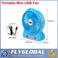Wholesale Portable Mini USB Fan Rechargeable Battery Operated LED Lamp for Indoor Outdoor Kids Table Fan Battery With Retail package flyglobal