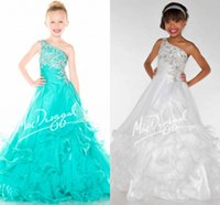 Wholesale Top Selling New A Line Flower Girl Dress One Shoulder Beads Ruffles Sequins Crystals Floor Length Tiers Organza Girl s Pageant Dresses