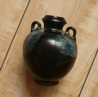 Wholesale Overseas reflux blue black glaze binaural canister