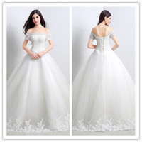 Wholesale Romantic Long Wedding Dresses Boat Neck Ball Gown Cheap Stockings Bridal Gowns with Short Sleeve Floor length Lace Up Bride Dress SX033