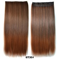 Wholesale 24 quot Remy Hair Extensions Ombre Color Hair Extentions Human Wigs Long Straight Five Clips in Hair Pieces J004 Ombre Pure Color Synthetic Hair