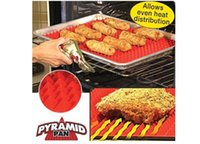 Wholesale Pyramid Pan Non Stick Fat Reducing Silicone Cooking Mat Oven Baking Tray Sheets Stock