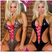 Wholesale Sexy lingerie leopard leather bikini swimsuit women pole dancing clothing
