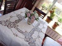battenburg tablecloth - Exclusive Long Vintage white x300cm Battenburg Lace Cotton tablecloth