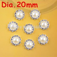 Cheap Wholesale-20mm round metal rhinestone pearl button flat back wedding embellishment hair bow alloy button DIY hair accessory 100pcs PJ05