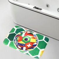 bathroom marketing materials - SMILE MARKET Selling Good Green Football Coral Velvet Material Anti slip Bathroom Mats