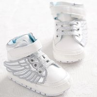 angels boots - New Fashion Lovely PU Leather Baby Boys Prewalker Shoes Infant Toddler Angel Wings Babe Crib First Walkers Boots Footwear T
