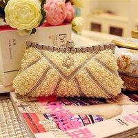 Wholesale 2015 Fashion Bridal Clutch Pearls Crystal Rhinestone Lady Women Evening Party Handbags With Chain Wedding Bridal Accessory Bridesmaid Bag WZ