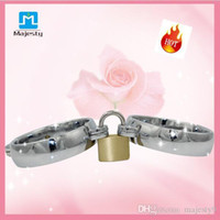 ankle magnets - Female Male Magnet Locking Pins Stainless Steel Ankle Cuffs Pair Bondage BDSM Handcuffs Ankle Cuffs Sex Game Sex Toys for Couple