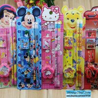 Wholesale Free ship set Cartoon Stationery suite Piece Set students learning supplies Children s Day gift order lt no tracking